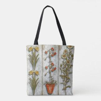Bolsa Tote Flores e arbusto