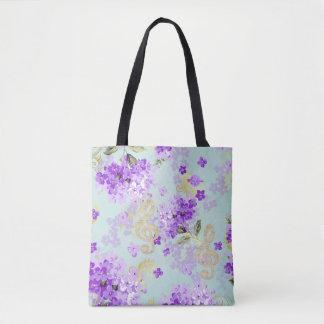 Bolsa Tote Flores florais do roxo do Clef de triplo