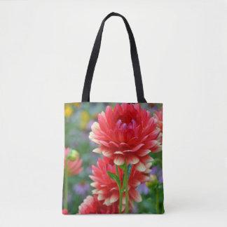 Bolsa Tote Flores vermelhas da dália