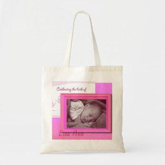 Bolsa Tote Foto cor-de-rosa do bebé