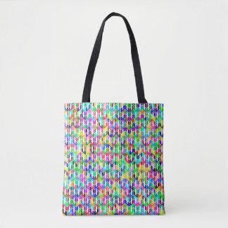 Bolsa Tote Fundo abstrato grade geométrica colorida