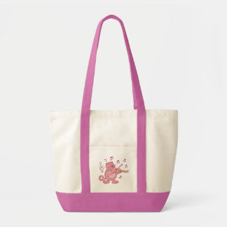 Bolsa Tote Gato cor-de-rosa com violino