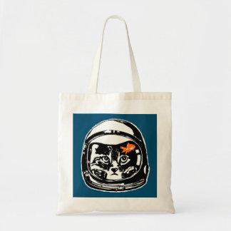 Bolsa Tote Gato do espaço e o peixe dourado