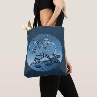 Bolsa Tote gato do espaço que joga com desenhos animados