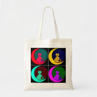Bolsa Tote Gato na sacola do orçamento da lua