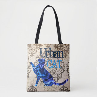 Bolsa Tote Gato & rato urbanos azuis toda sobre - imprima a