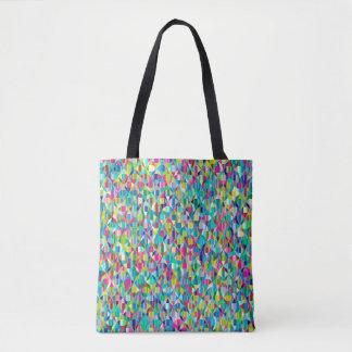 Bolsa Tote Grade azul e roxa abstrata colorida