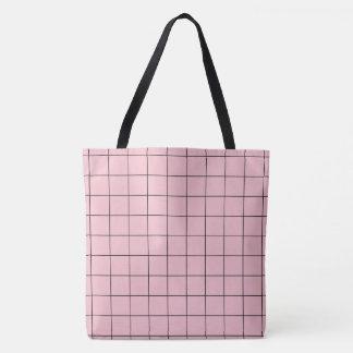 Bolsa Tote Grade cor-de-rosa