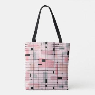 Bolsa Tote Grade cor-de-rosa retro e sacola de Starbursts