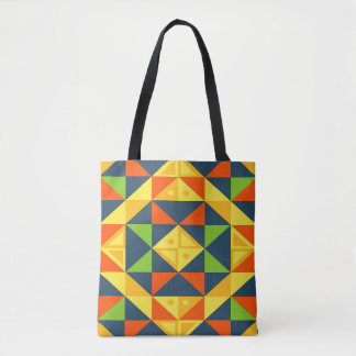 Bolsa Tote Grade geométrica abstrata colorida