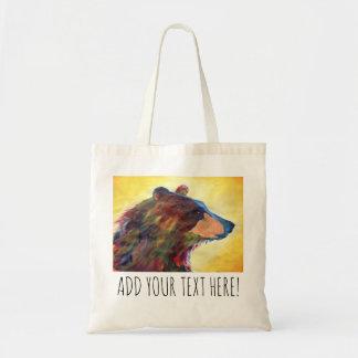 Bolsa Tote Grande arte abstrata colorida do urso
