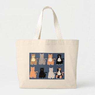 Bolsa Tote Grande Assim gatos dos desenhos animados do divertimento