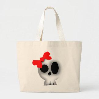 Bolsa Tote Grande Crânio bonito com arco vermelho