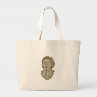 Bolsa Tote Grande Desenho do busto de Christopher Marlowe