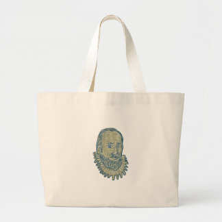 Bolsa Tote Grande Desenho do busto do senhor Walter Raleigh