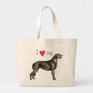 Bolsa Tote Grande Eu amo meu Wolfhound irlandês