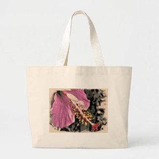 Bolsa Tote Grande Flor de Hibisco Rosa