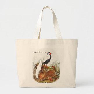 Bolsa Tote Grande Ilustração selvagem do pássaro do vintage com