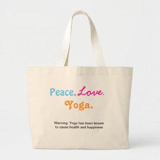 Bolsa Tote Grande Ioga do amor da paz
