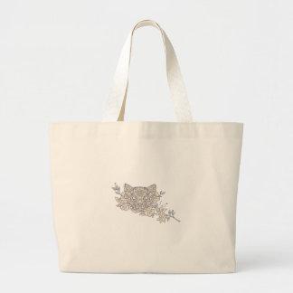 Bolsa Tote Grande Mandala principal da flor do jasmim do gato