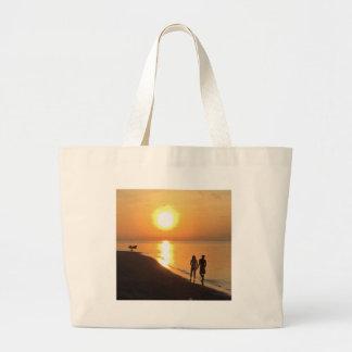 Bolsa Tote Grande Nascer do sol de Bali na praia