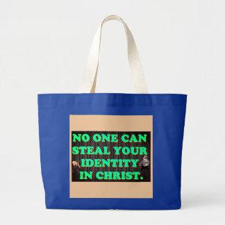 Bolsa Tote Grande Ninguém pode roubar sua identidade em Christ.