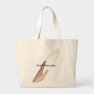 Bolsa Tote Grande O deus ama o, a energia e as bolsas de mãos