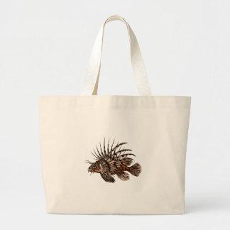 Bolsa Tote Grande Peixes bonitos & simples do leão do vintage