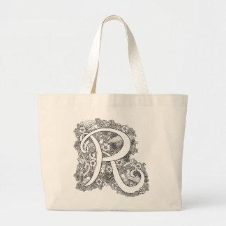 Bolsa Tote Grande Sacola do monograma do doodle do zen da letra R