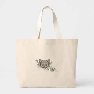 Bolsa Tote Grande Tatuagem principal da flor do jasmim do gato