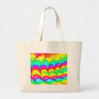 Bolsa Tote Grande Teste padrão 3D abstrato colorido arco-íris