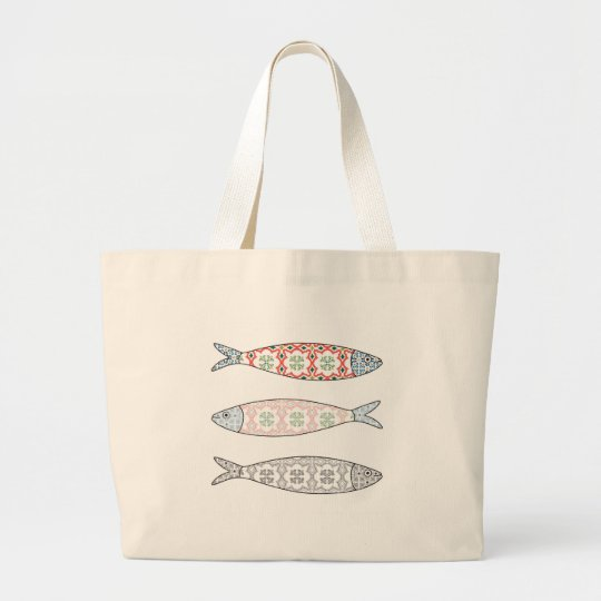 Bolsa Tote Grande Traditional Portuguese icon. Colored sardines