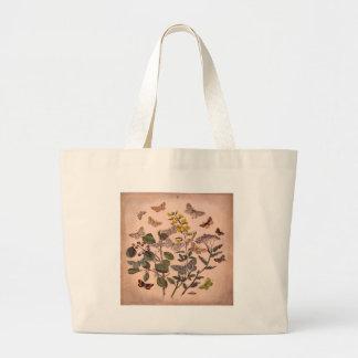 Bolsa Tote Grande Wildflowers florais botânicos da ilustração do