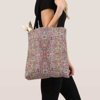 Bolsa Tote HAMbWG - sacola - quadrados aleatórios coloridos