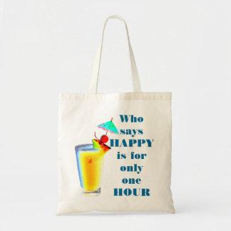 Bolsa Tote Humor do happy hour da bebida do guarda-chuva