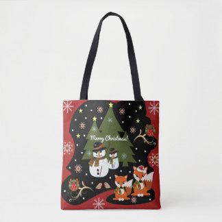 Bolsa Tote Ilustração bonito do Natal com texto feito sob