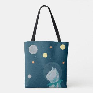 Bolsa Tote Ilustração bonito e engraçada do gato e do espaço