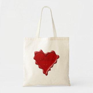Bolsa Tote Jasmim. Selo vermelho da cera do coração com