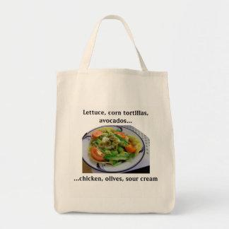 Bolsa Tote Lista do mantimento da salada do Tostada