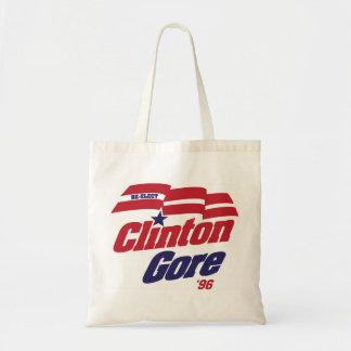 Bolsa Tote Logotipo Clinton/Gore 1996 da campanha do vintage
