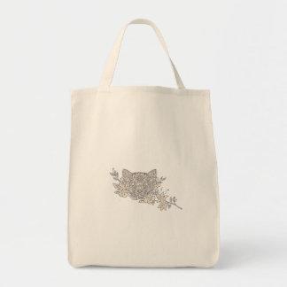 Bolsa Tote Mandala principal da flor do jasmim do gato