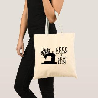 Bolsa Tote Mantenha a calma & Sew em artesanatos/logotipo da