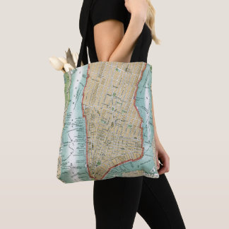 Bolsa Tote Mapa antigo do Lower Manhattan e do Central Park