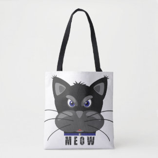 Bolsa Tote Meow Grouchy do gato preto