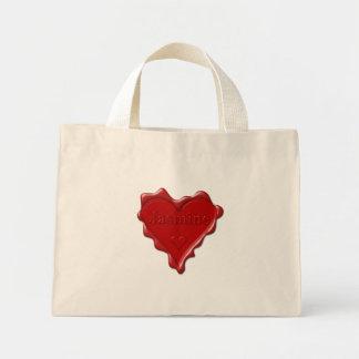 Bolsa Tote Mini Jasmim. Selo vermelho da cera do coração com