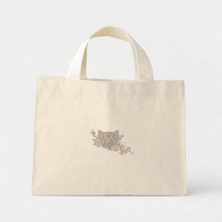 Bolsa Tote Mini Mandala principal da flor do jasmim do gato