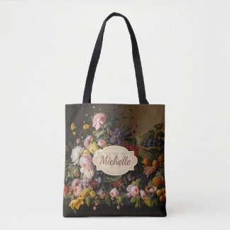 Bolsa Tote Monograma cor-de-rosa floral & nome da arte do