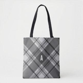 Bolsa Tote Monograma da xadrez do carvão vegetal e das cinzas