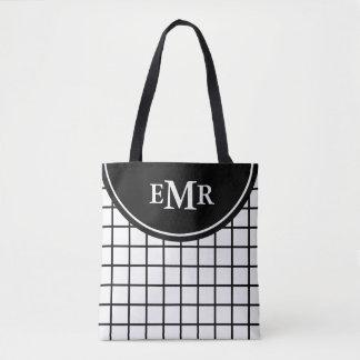 Bolsa Tote Monograma preto e branco clássico da listra da
