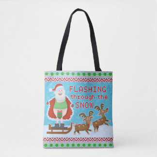 Bolsa Tote Natal engraçado | Papai Noel que pisca através da